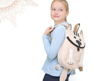 Peachy Cat small backpack. Nice soft touching kid's backpack.