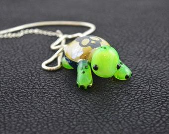 Glass Turtle Hatchling Pendant