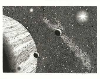Good Morning Jupiter (again) -- stippled pen & ink limited artist proof (the last of  3 artist proofs)