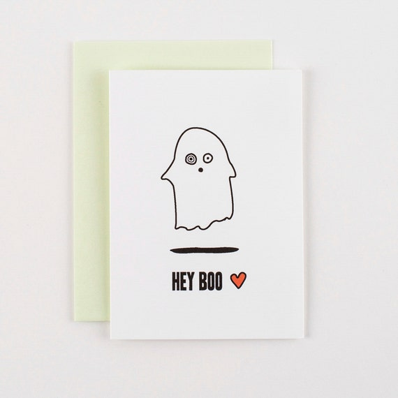 Hey Boo Valentine's Love and Halloween Greeting Card