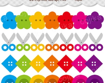 Sewing, Button And Scissors, Clip Arts -E016- Instant Download