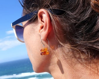 Cognac Honey Amber Stone Earrings, Baltic Amber Dangle Drop Earrings, Amber Sterling Silver Dangle Earrings, Amber Earrings, Amber Jewelry,