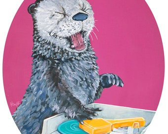Digital Print - Original Artwork Otter with Vintage Children's record Player toy on pink in Oval with white border