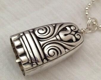 Knife Bell Pendant Danish Queen Silverware Jewelry Vintage Silverplate Knife