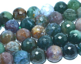 10 pearls 14mm agate faceted Indian green shades