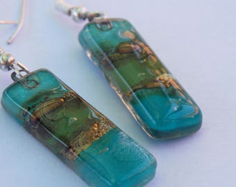 Oblong Green recycled fused glass earrings- Forest Green!