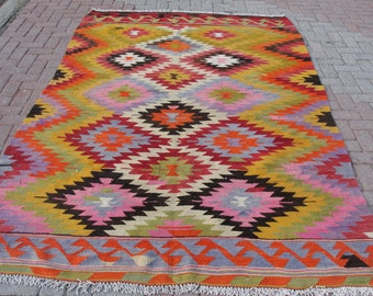 "Turkish Antalya Handwoven Kilim Traditional Wool Rug Carpet 69"" x 108"" inches"