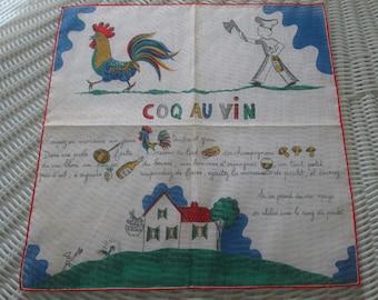 Kreier 100% Cotton Handkerchief, coq au vin hankie, french coq au vin recipe,Kreier hankie, Vintage hankie, 1950s nostalgia handkie,