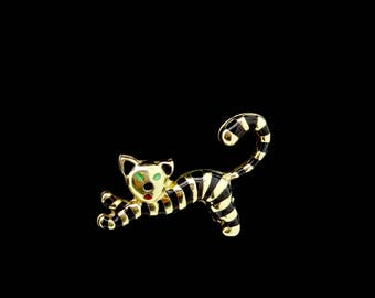 estate enameled 14k gold emerald eyed Chinese tiger pin brooch