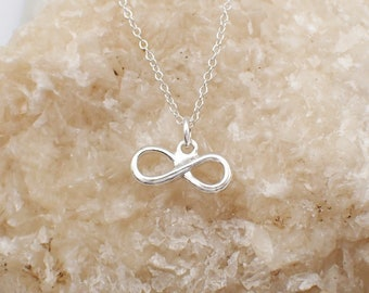 Infinity Necklace Sterling Silver Dainty Eternity Charm Pendant Cable Chain Love Valentine Figure Eight