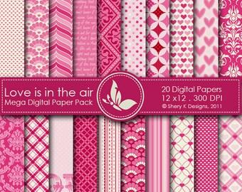 Love is in the air Mega Paper Pack - 20 Printable Digital papers - 12 x12 - 300 DPI