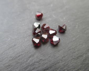 Bicone 4 mm: 8 beads dark red siam Swarovski Crystal