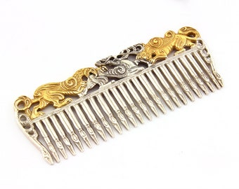 Silver Scythian comb Silver hair comb Scythian jewelry Vintage comb, Silver hairbrush, Vintage hairbrush