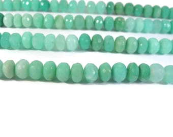 Natural Chrysoprase Rondelles, 8mm - 9mm, Shaded Green Gemstone Beads, 7 Inch Strand, Jewelry Supplies (R-Ch4a)