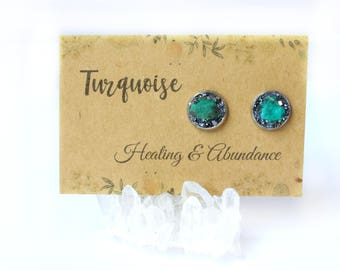 Turquoise Jewelry, Turquoise Earrings, Boho Jewelry, Boho Earrings, Bohemian Jewelry, Bohemian Earrings, Stud Earrings, Gemstone Earrings