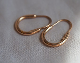 ON HOLD - Please do not purchase - Simply charming vintage Russian-made 14K rosy-yellow gold half-hoop earrings