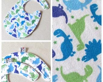 Dino Baby Bib, Blue and Green  Baby Bib, Gender Neutral Bib , Green Bib, Unisex Baby Shower Gift , Modern Bib, Blue Baby Bib , dinosaur bib