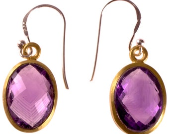 Silver earrings Amethyst faceted oval gold-plated 925 sterling silver Stone Purple (No. OSG-52)