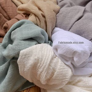 Solid Linen Gauze Fabric Light Linen Blended Bamboo Joint Pre Washed 27 colors Choose- Fabric by Yard