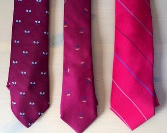 Red Mismatched Groomsmen Skinny Ties s/3
