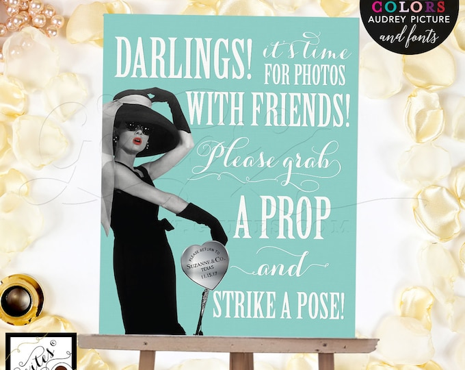 """Breakfast at photo booth sign, Audrey Hepburn party supplies, poster, wall art, CUSTOMIZABLE Audrey Picture, Colors & fonts 8x10"""""""