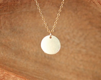 Gold disc necklace - gold dot - gold circle necklace - simple - everyday necklace - a 14k gold filled disc on a 14k gold filled chain