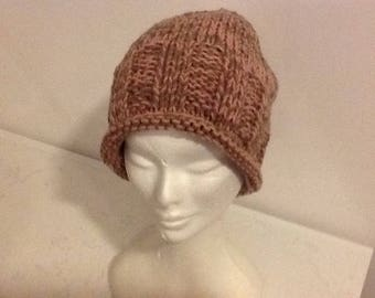 Cap wool pink handmade knit and taupe