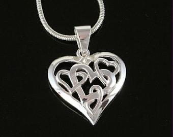 Sterling Silver Pendant, Silver Heart Pendant, Silver Filigree Heart Necklace, 925 Silver Pendant, Valentine's Gift for Her, UK Seller