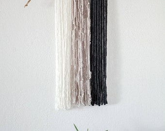 No. 08 | Yarn Wall Hanging, Natural, Large, White, Mushroom, Champagne, Taupe, Dark Grey Heather, Fiber Art, Textile Art