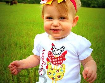 Farm Chicken Applique Shirt, Personalized Chicken Shirt, Farm Birthday Shirt, Hen Shirt