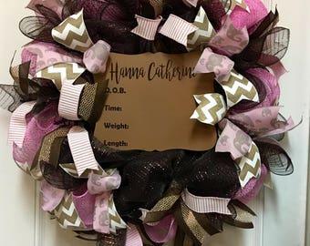 Hospital Door Hanger. Birth Announcement Wreath. Nursery Wreath. Baby Shower Wreath. Baby Shower Gift. Baby Girl Wreath. Nursery Decor