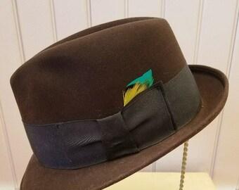Vintage Black Fur Felt Trilby Fedora Hat, Resistol 707, ca 1960s