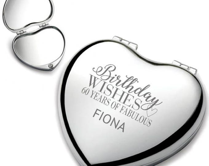 Personalised engraved 60TH BIRTHDAY heart shaped compact mirror birthday wishes gift idea, chrome plated - HEM-B60