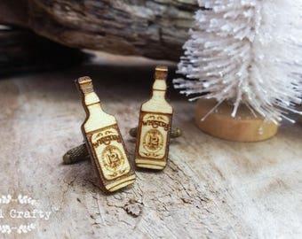 Whiskey Bottle Wooden Cufflinks hard liquor Dad Grooms Best man Groomsman Rustic Wedding Birthday Gift Cuff links