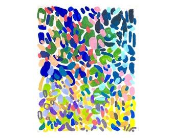 Mid Century Modern Colorful Bright Abstract Large Acrylic Painting Shapes Patterns Organic Wall Art Yayoi Kusama