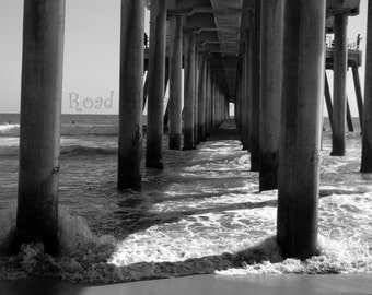 8 x 10 matted photograph, black and white beach photography, Huntington Beach Pier