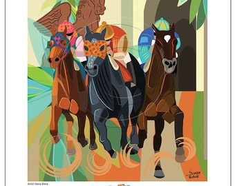 Running of the Florida Derby 2018 Poster Art Artist Signed Print Modern Equine Fine Art Jockeys Horse Racing Vivid Colors Horses Silks