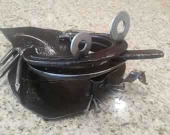 Upcycled metal art frog