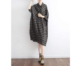 Womens Summer Loose Fitting Checks Batwing Sleeve Cotton Linen Blouses, Casual Blouses, Cotton Blouses, Linen Blouses,Casual Tops,Bust>130CM