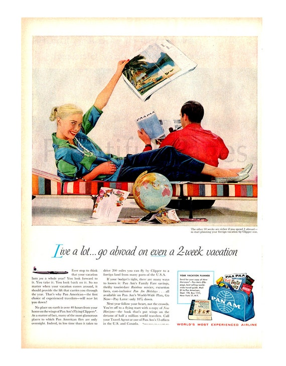 1957 Pan American Vintage Ad 1950s Couple
