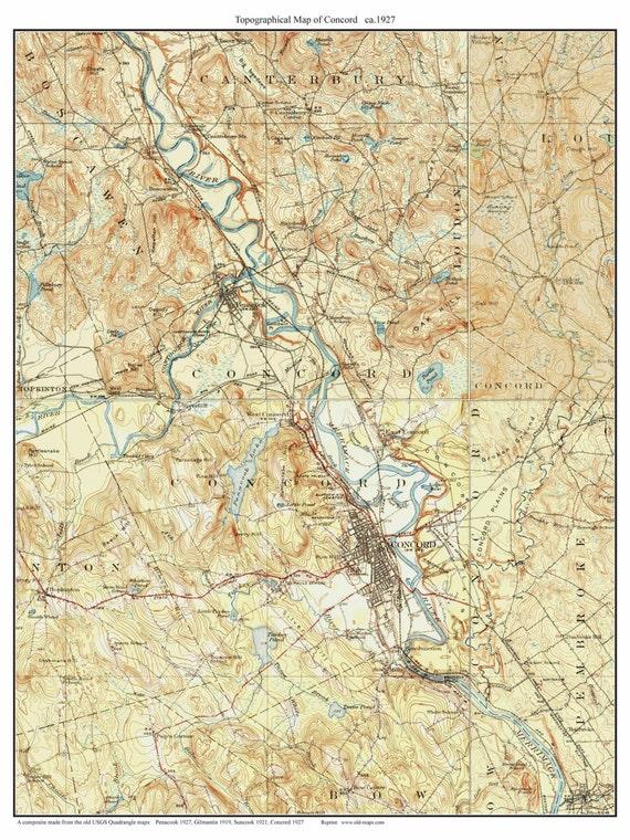 Concord New Hampshire 1927 USGS Old Topo Map Custom