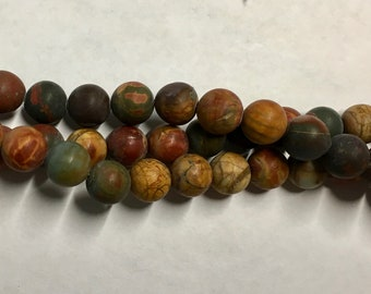 Red Creek Jasper Matte Gemstone Beads Smooth Rounds 8mm 8 inch strand Approx 24 pcs per strand