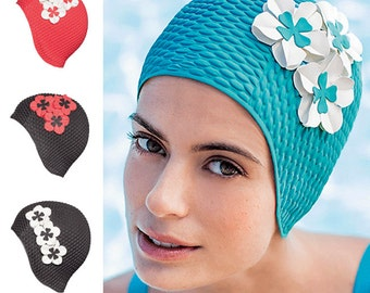 Retro Style Swim Cap - Fashy Swimming Hat with Flower Detail  - Vintage Style Bubble Swim Cap