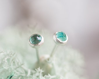 Apatite stud earrings, dainty tiny earrings for everyday, sterling silver, 14k gold filled