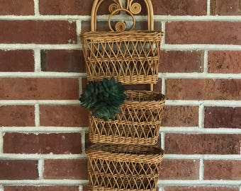 Hanging wall basket, wicker wall basket, wall mail organizer, hanging organizer, boho wall basket, boho planter, jungalow wall basket