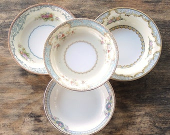 Mismatched Noritake Dessert Bowls Set of 4 Tea Party Serving Bowls Wedding Farmhouse Cottage Style China Replacement China