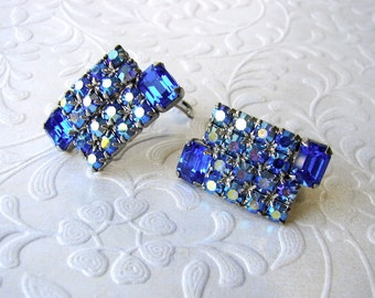 Vintage Royal Blue & Aurora Borealis AB Rhinestone Earring Clip Back Pageant Ballroom Formal Wedding Special Occasion Costume Jewelry Lapis
