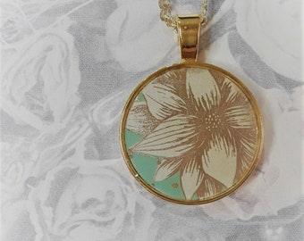 """1"""" White Floral on mint green necklace"""