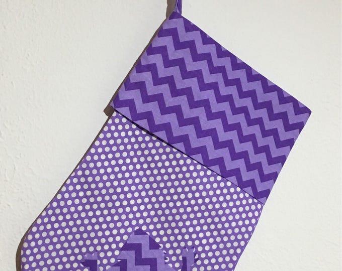 TCU Stocking purple polka dot with chevron cuff and horned frog appliqué Christmas Stocking RTS TCU Christmas tcu Decor