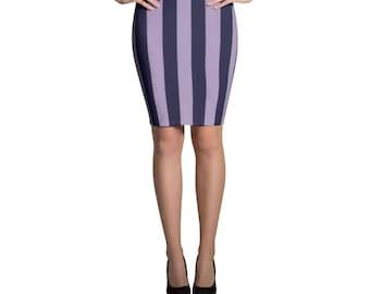 Grape Violet Striped Pencil Skirt